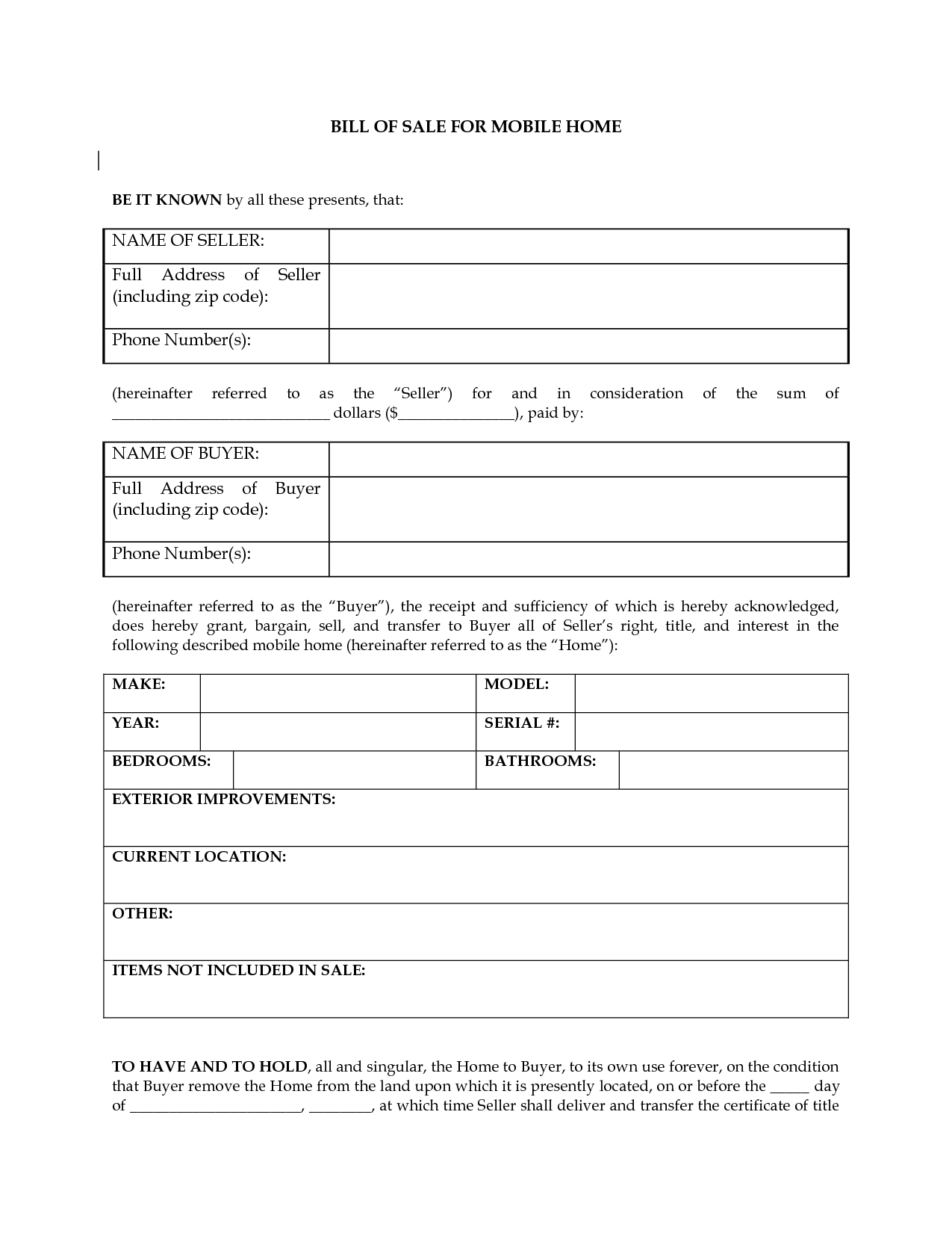Free Printable Bill Of Sale Camper Form (Generic) - Free Printable Bill Of Sale For Mobile Home