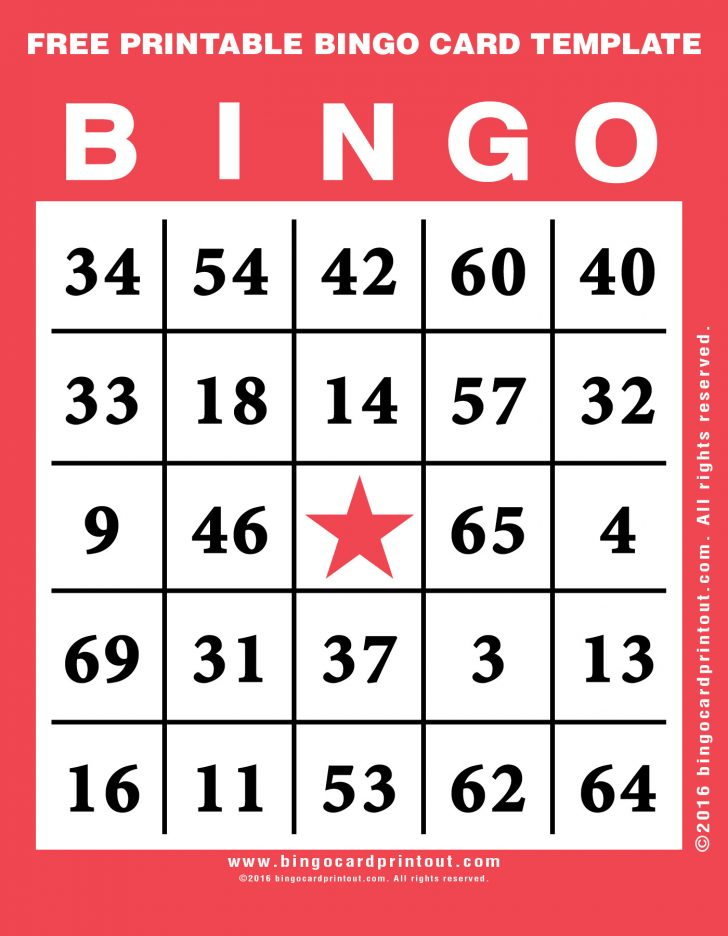 Printable Bingo Template Free