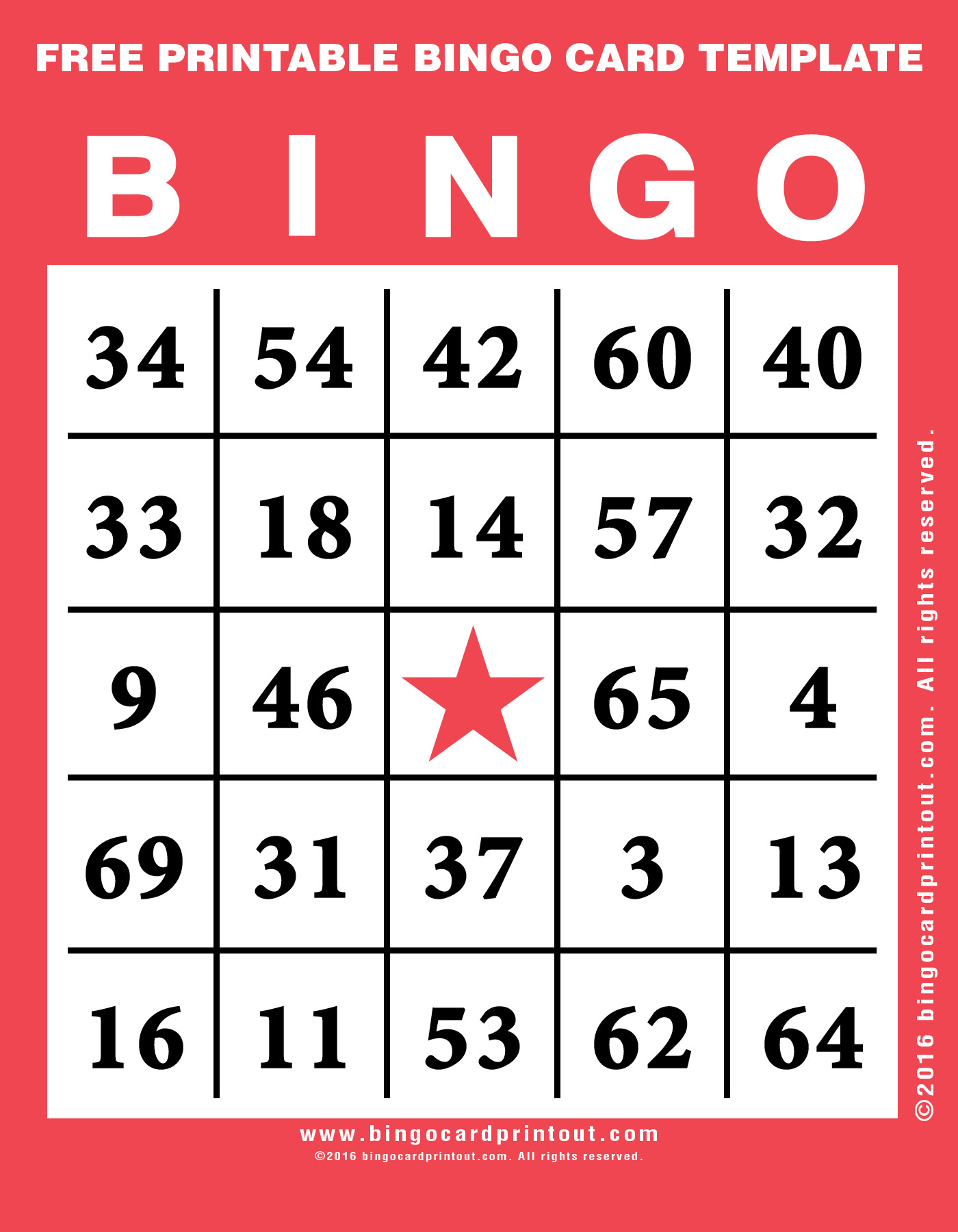 Free Printable Bingo Card Template - Bingocardprintout - Printable Bingo Template Free