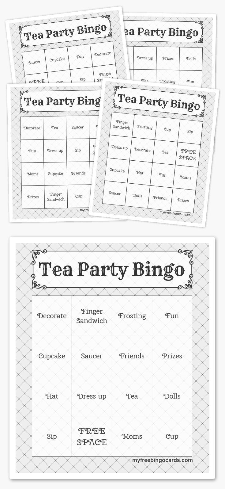 Free Printable Bingo Cards In 2019 | Printables | Pinterest | Harry - Free Printable Tea Party Games