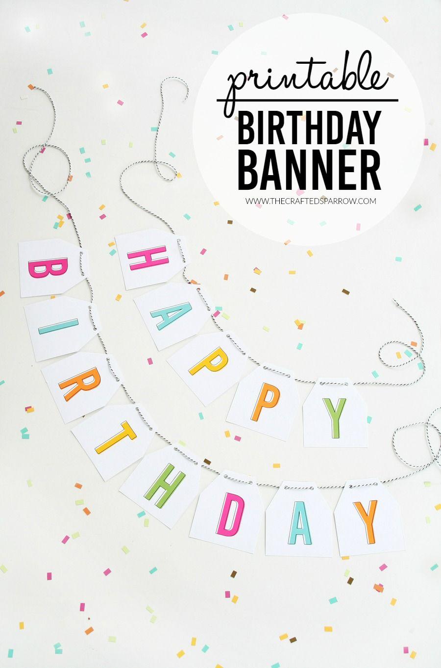 Free Printable Birthday Banner | Parties & Celebrations | Pinterest - Free Printable Birthday Banner