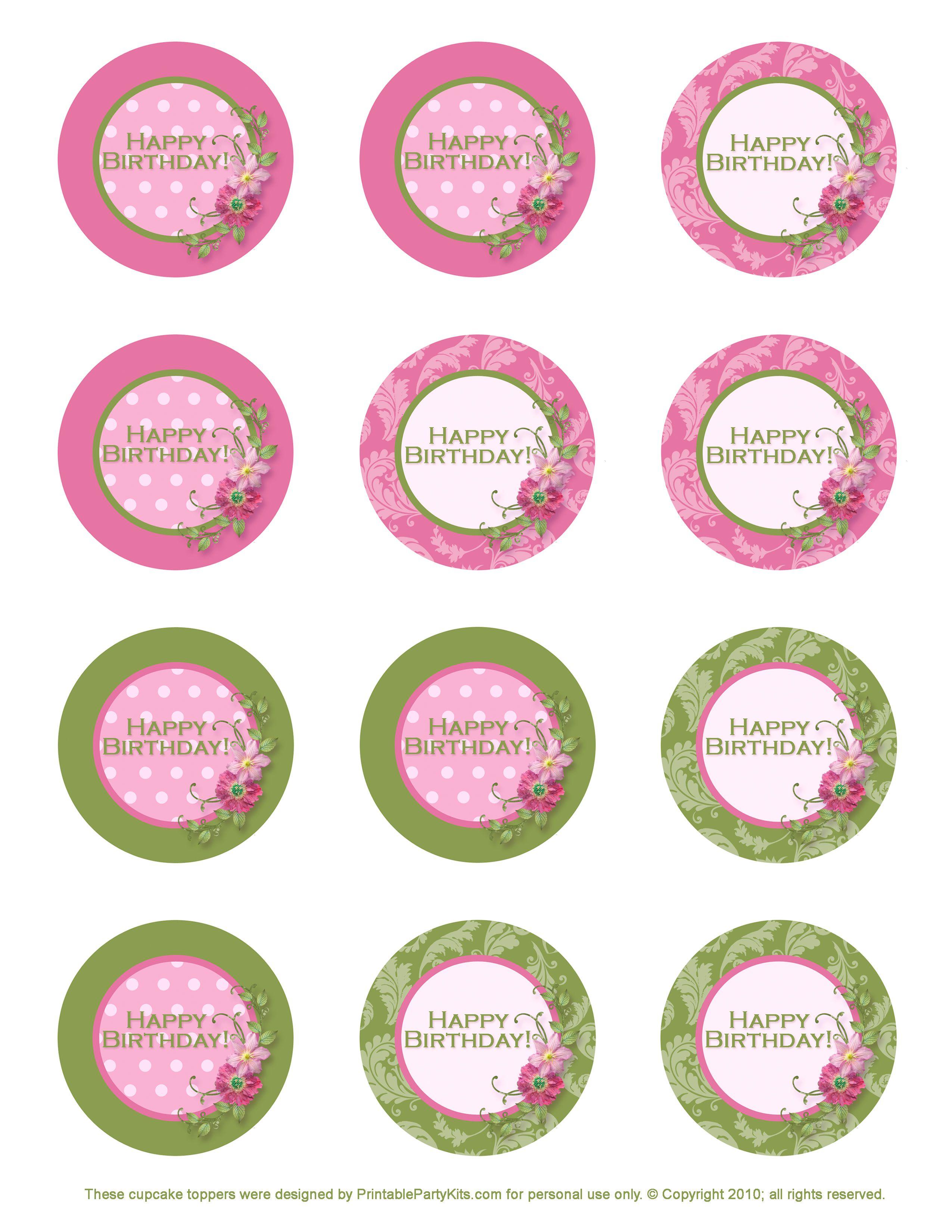 Free Printable Birthday Cupcake Toppers | Crafts | Pinterest - Cupcake Flags Printable Free