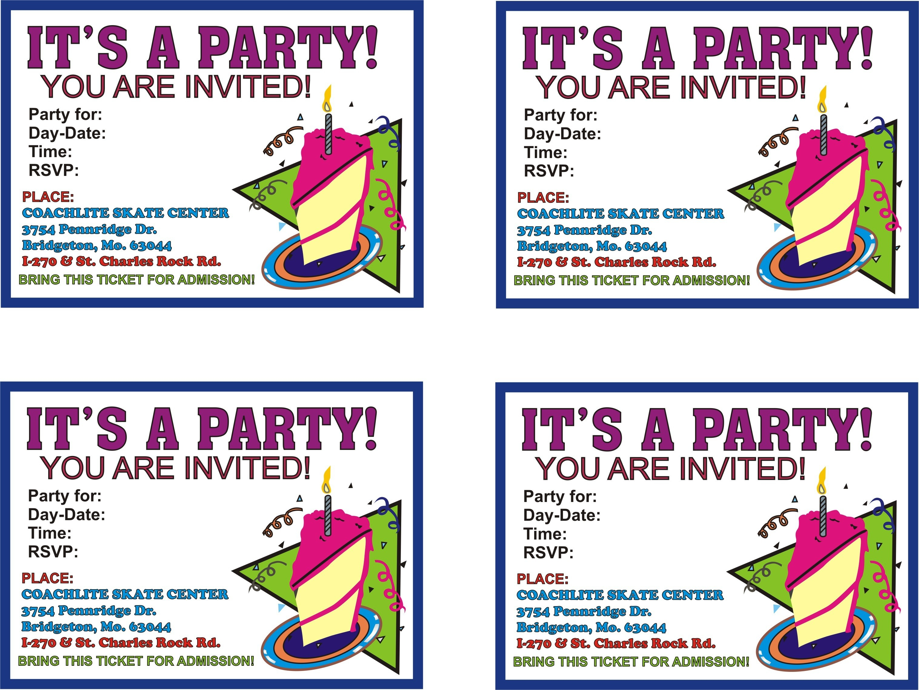 Free Printable Birthday Flyer Templates Party Invitations Nuruf - Free Printable Party Invitations