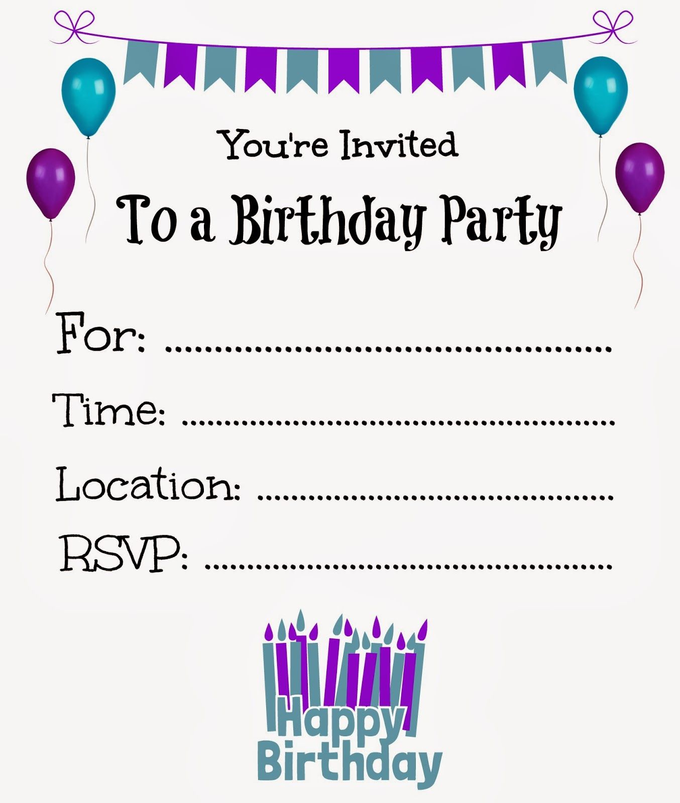 Free Printable Birthday Invitations For Kids #freeprintables - Free Printable Girl Birthday Invitations
