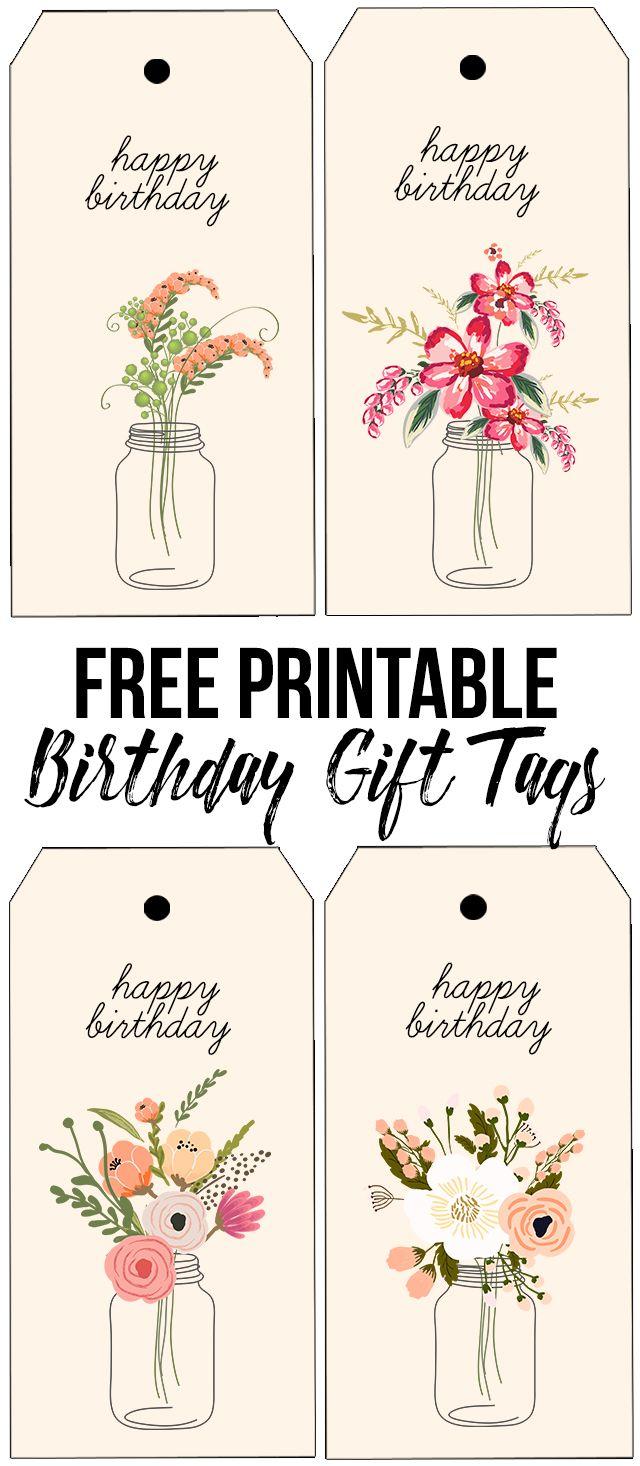 Free Printable Birthday Tags With Beautiful Florals. Livelaughrowe - Free Printable Birthday Tags