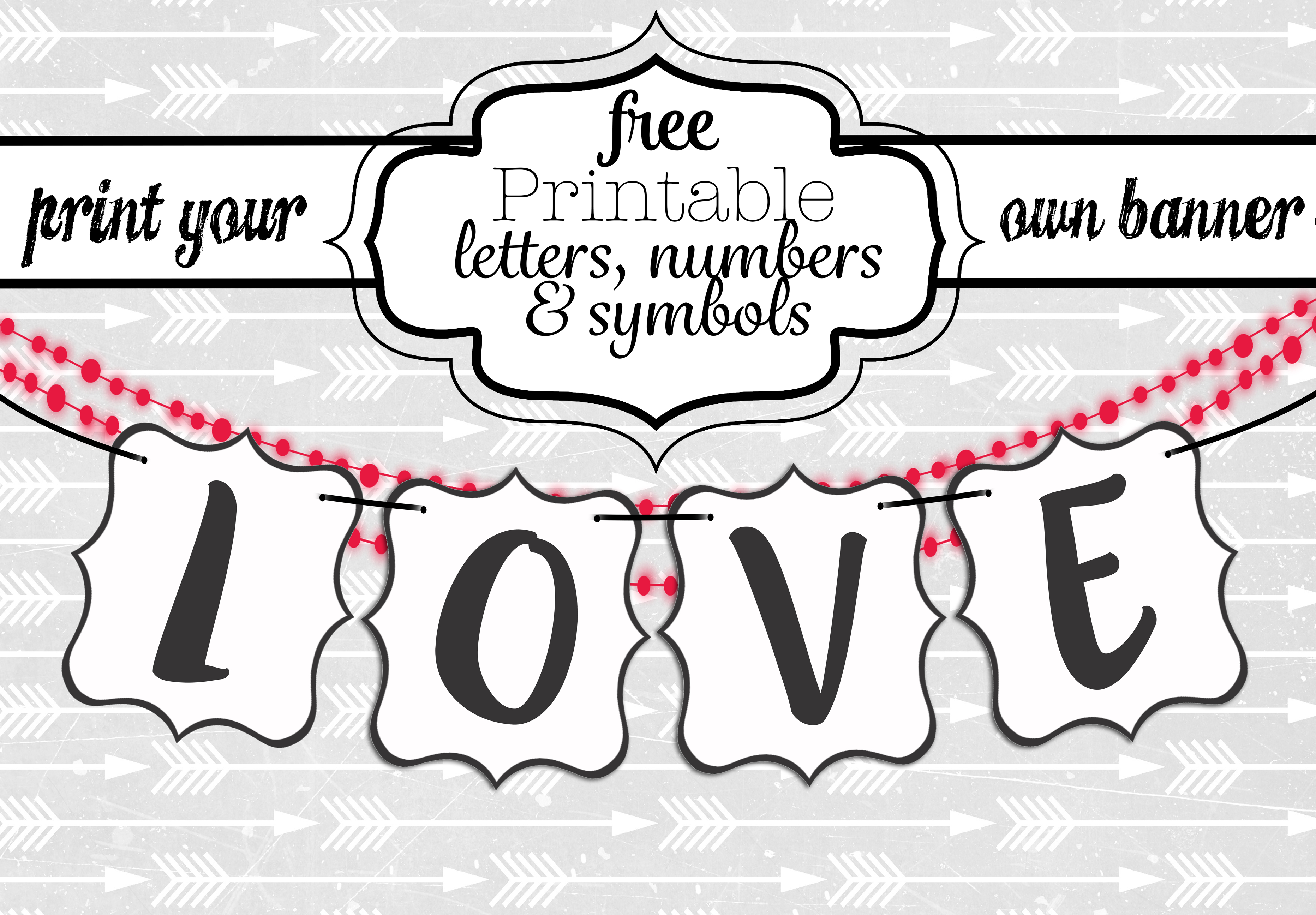 Free Printable Black And White Banner Letters | Diy Swank - Free Printable Banner Letters
