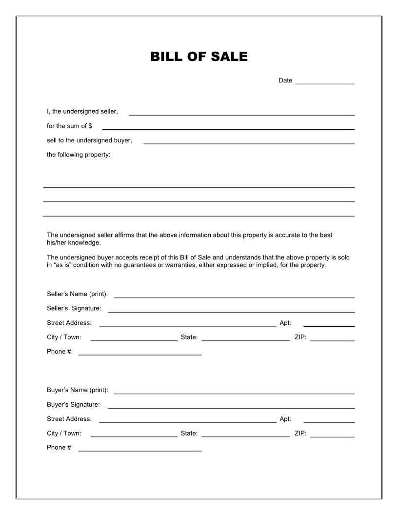 Free Printable Blank Bill Of Sale Form Template - As Is Bill Of Sale - Free Printable Generic Bill Of Sale