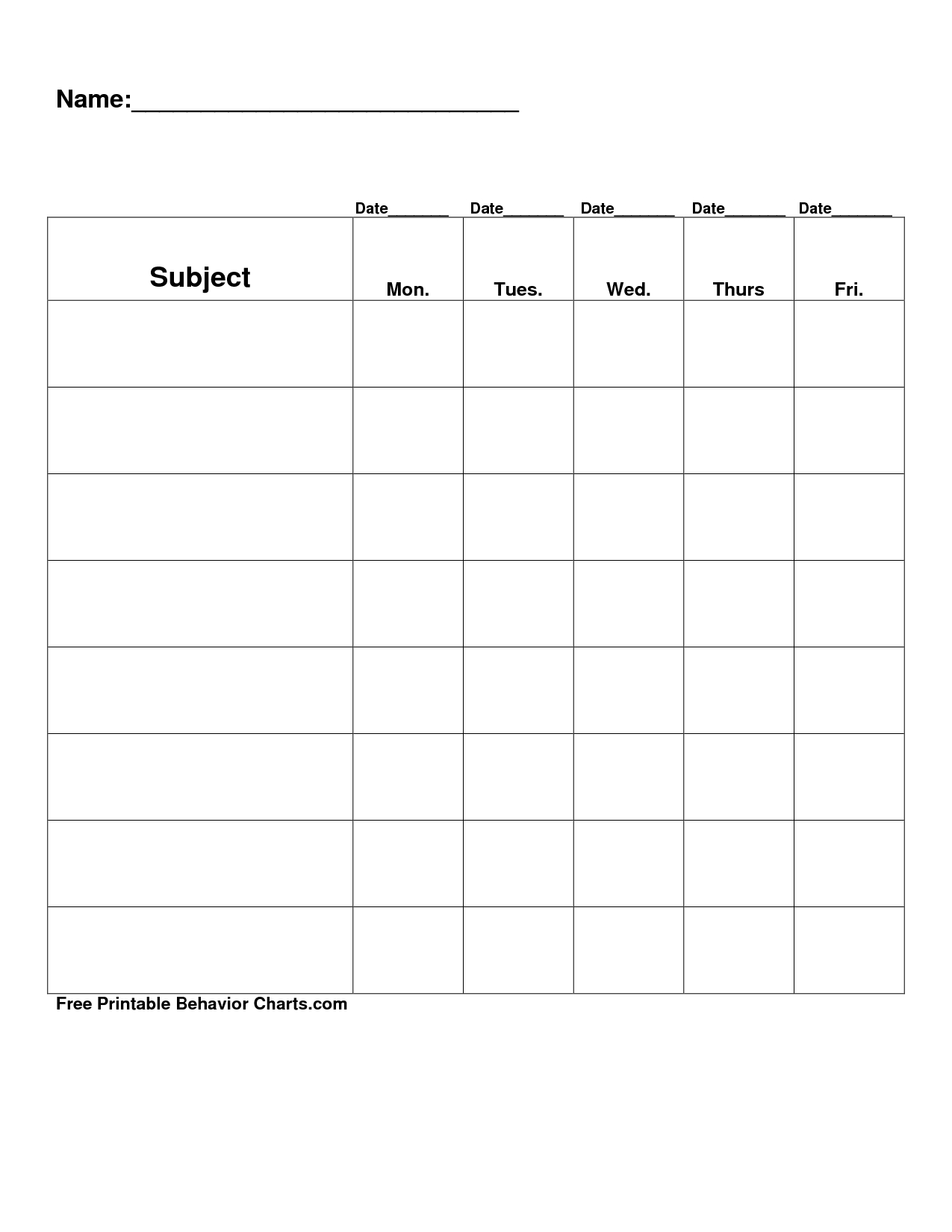 Free Printable Blank Charts | Free Printable Behavior Charts Com - Free Printable Behavior Charts For Elementary Students