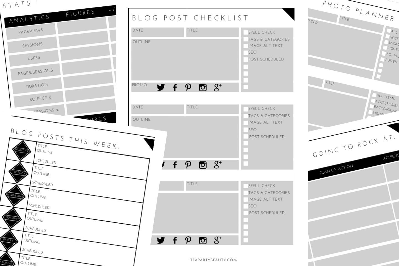 Free Printable Blog Planner & Downloadable Spreadsheet | Tea Party - Free Printable Blog Planner