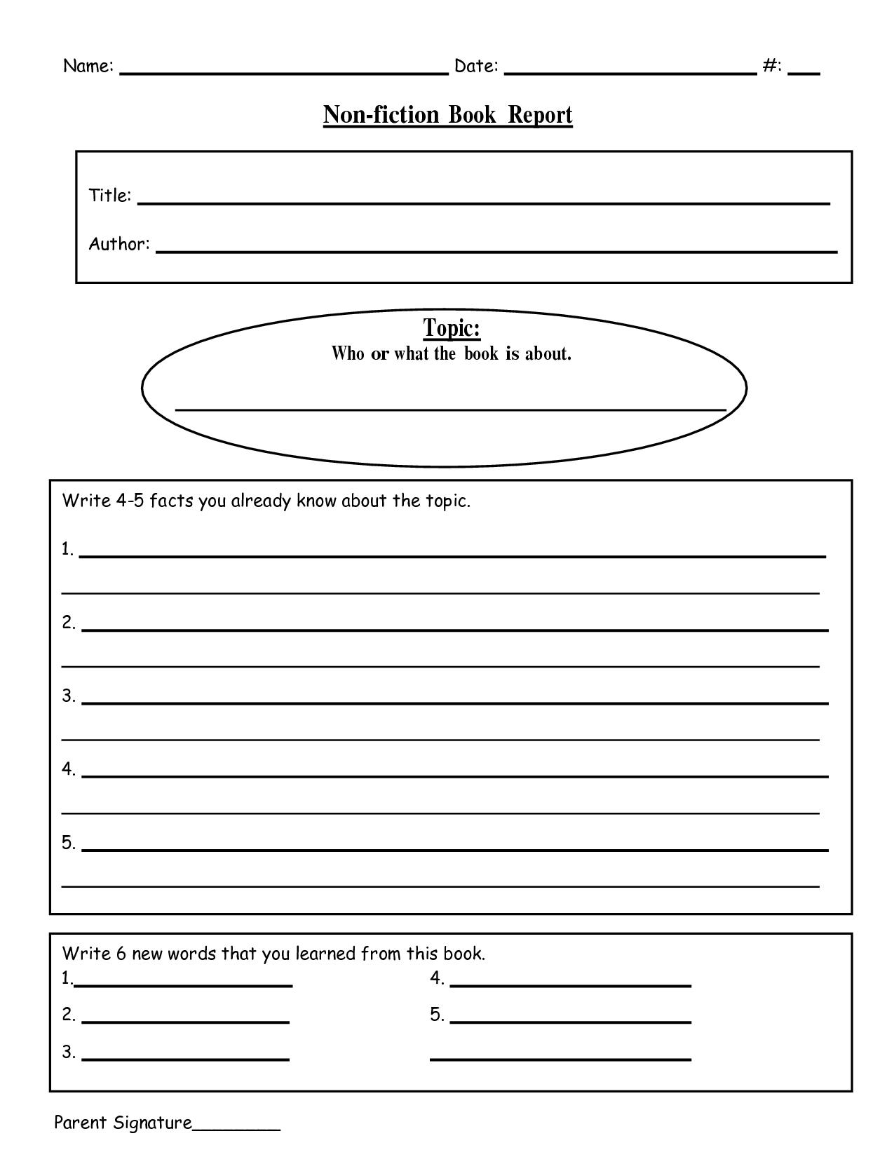 Free Printable Book Report Templates   Non-Fiction Book Report.doc - Free Printable Story Books For Grade 2