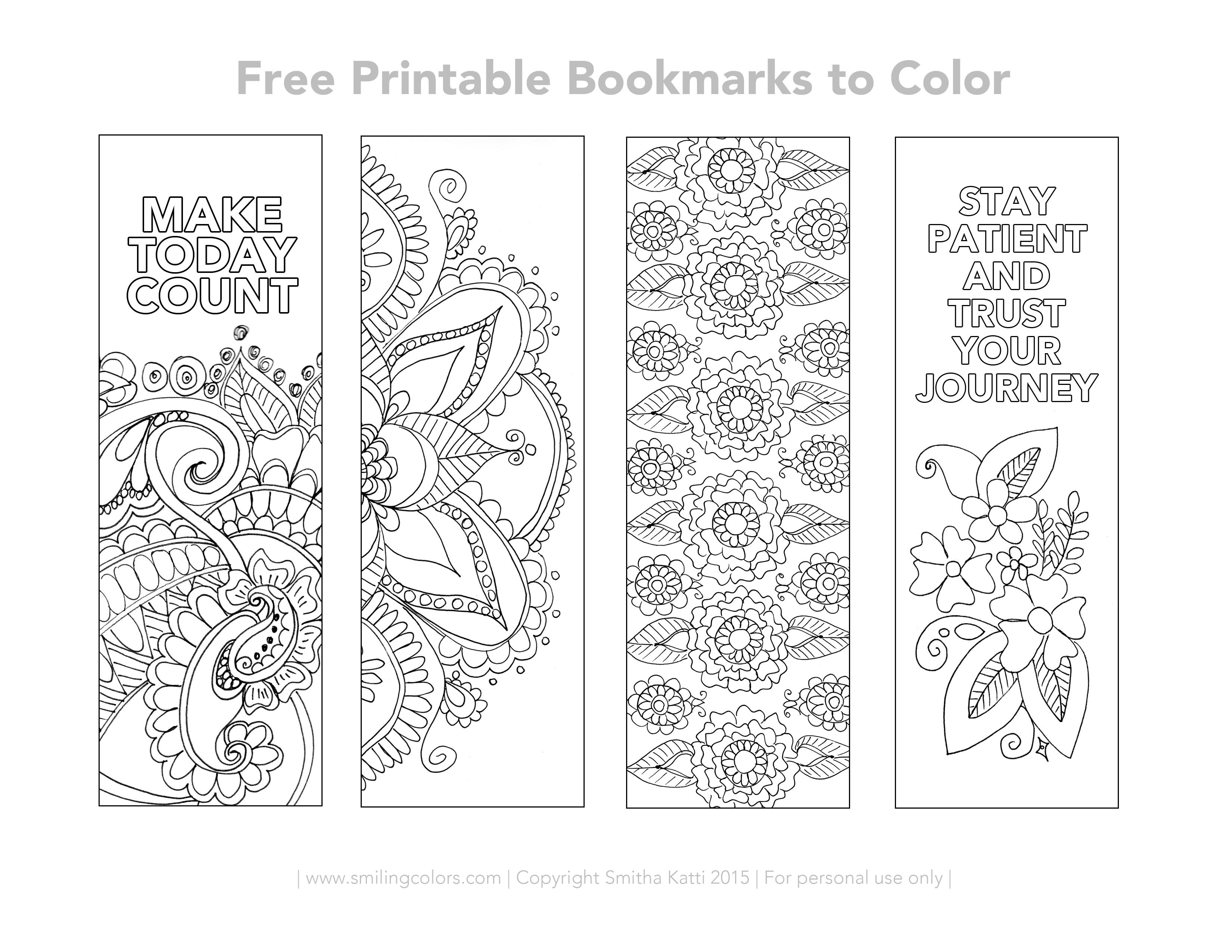 Free Printable Bookmarks To Color - Smitha Katti - Free Printable Spring Bookmarks