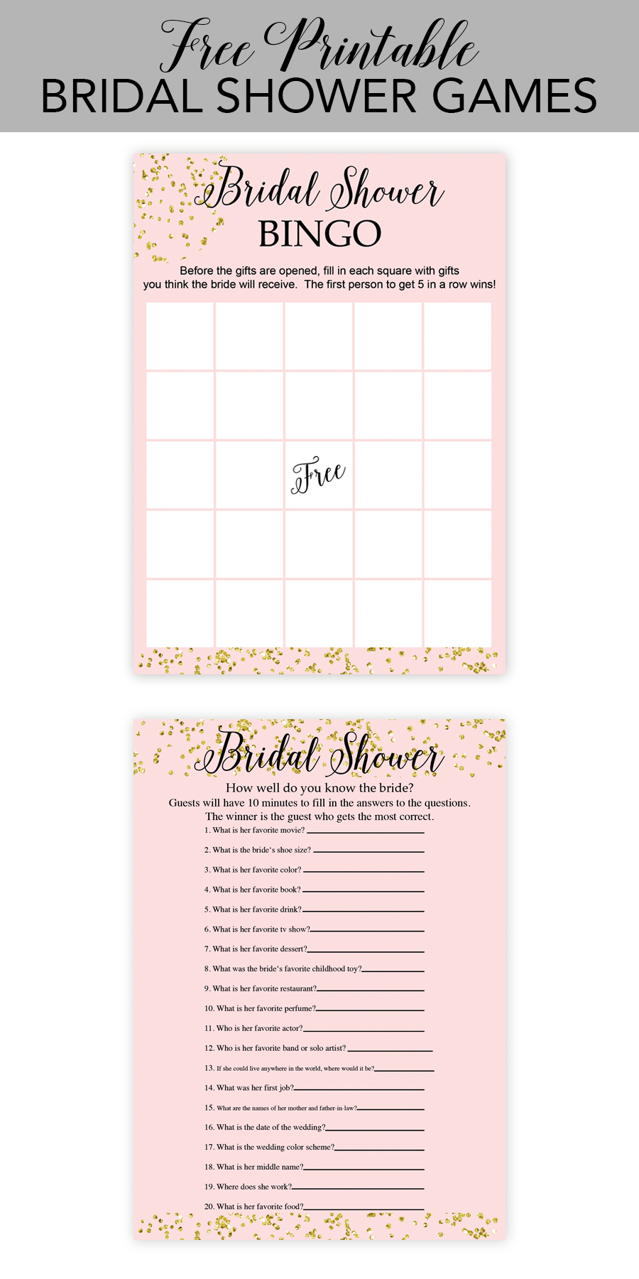 Free Printable Bridal Shower Games - Chicfetti - Free Printable Bridal Shower Games