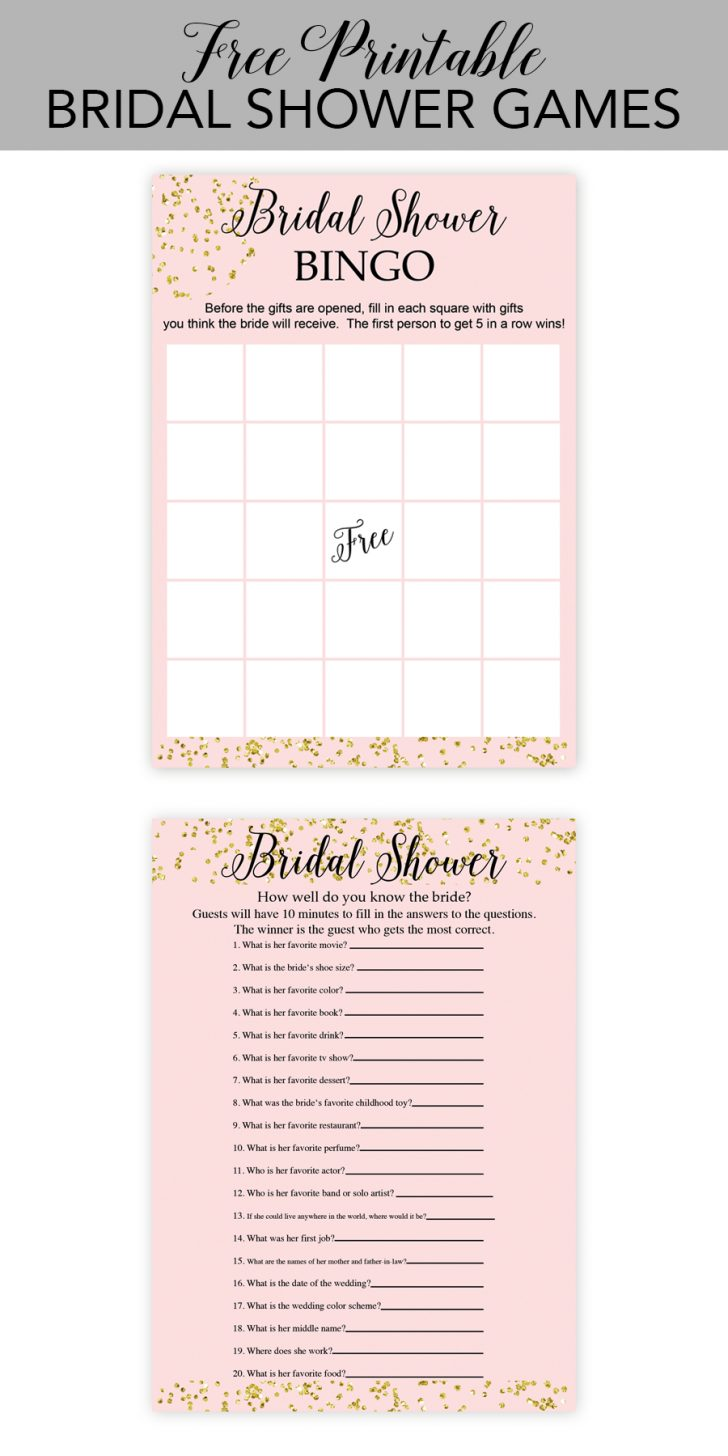 Free Printable Wedding Shower Games
