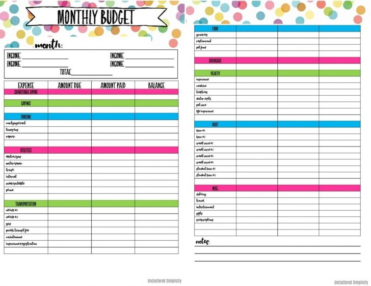 Free Printable Budget Planner Uk