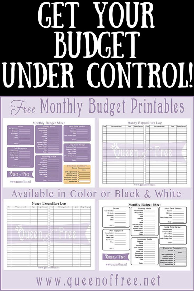Free Printable Budget Worksheet - Queen Of Free - Free Printable Budget Sheets