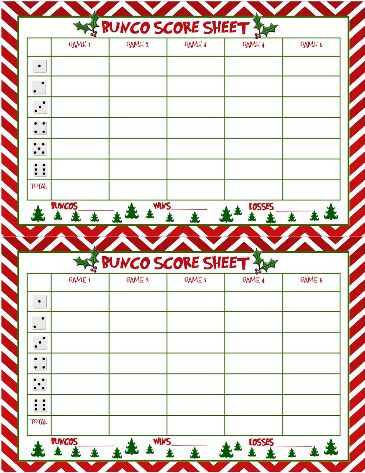 Free Printable Bunco Score Sheets Christmas – Festival Collections - Free Printable Bunco Game Sheets