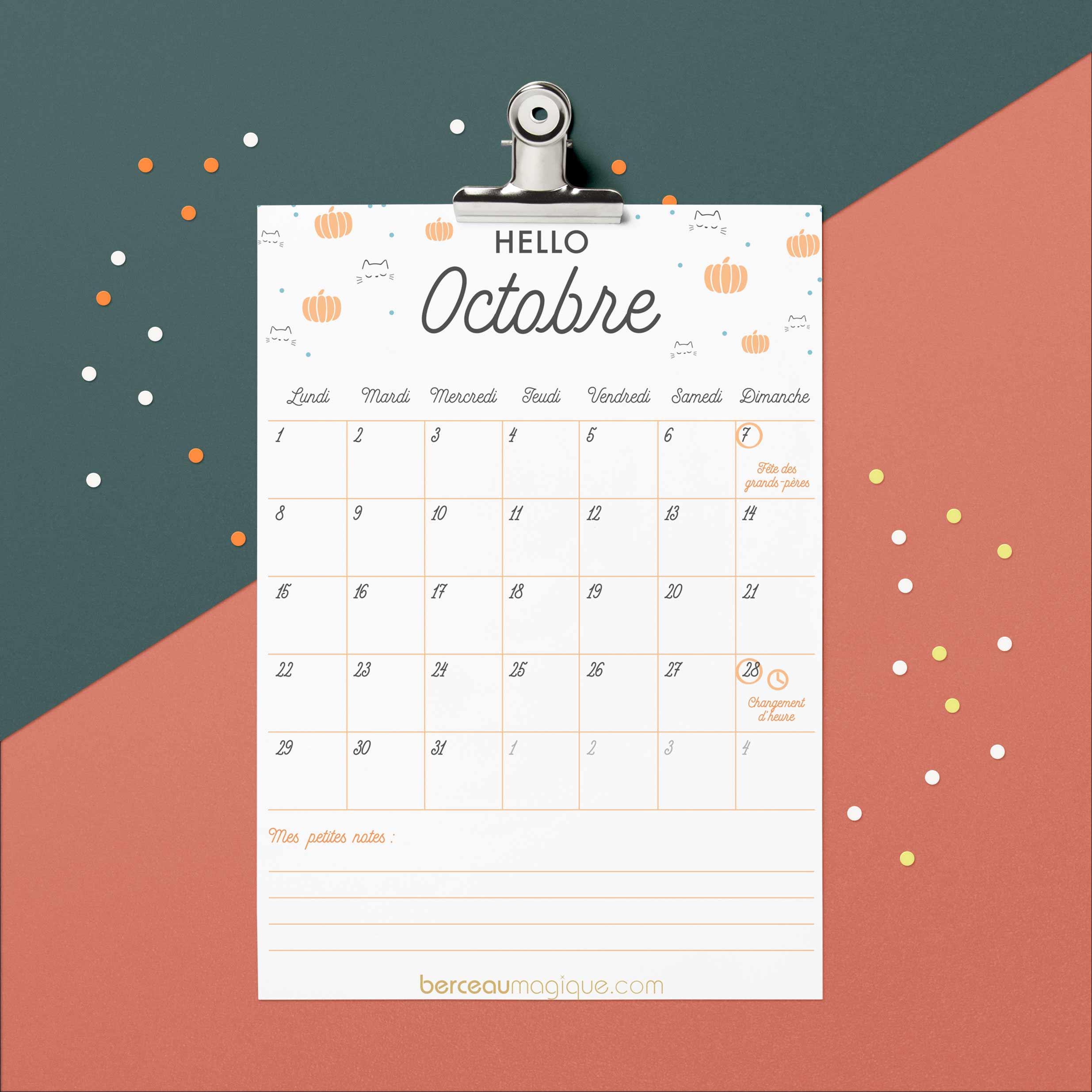 Free Printable : Calendrier D'octobre 2018 | Berceau Magique - Free Printable Images