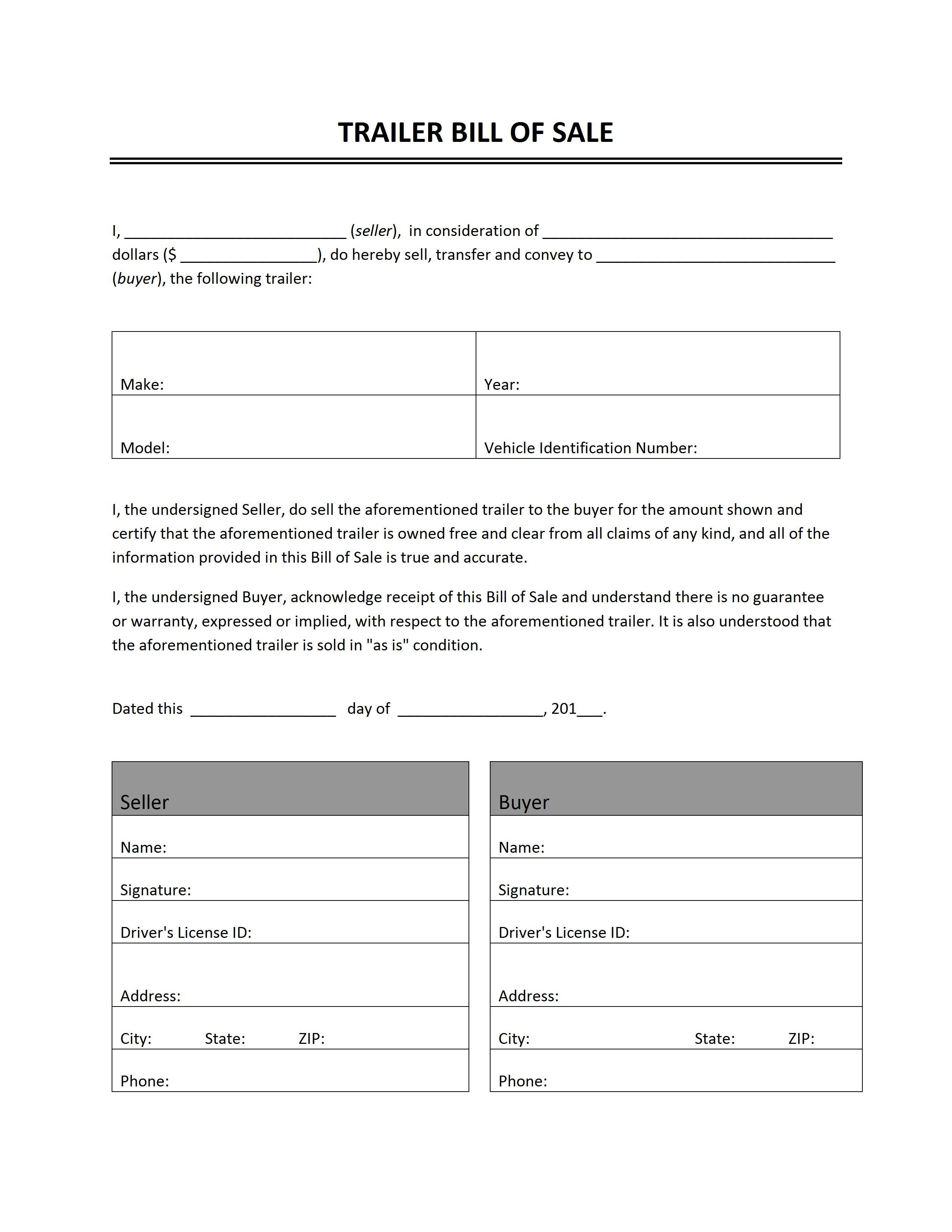 Free Printable Camper Bill Of Sale Form Free Form (Generic) - Free Printable Legal Documents