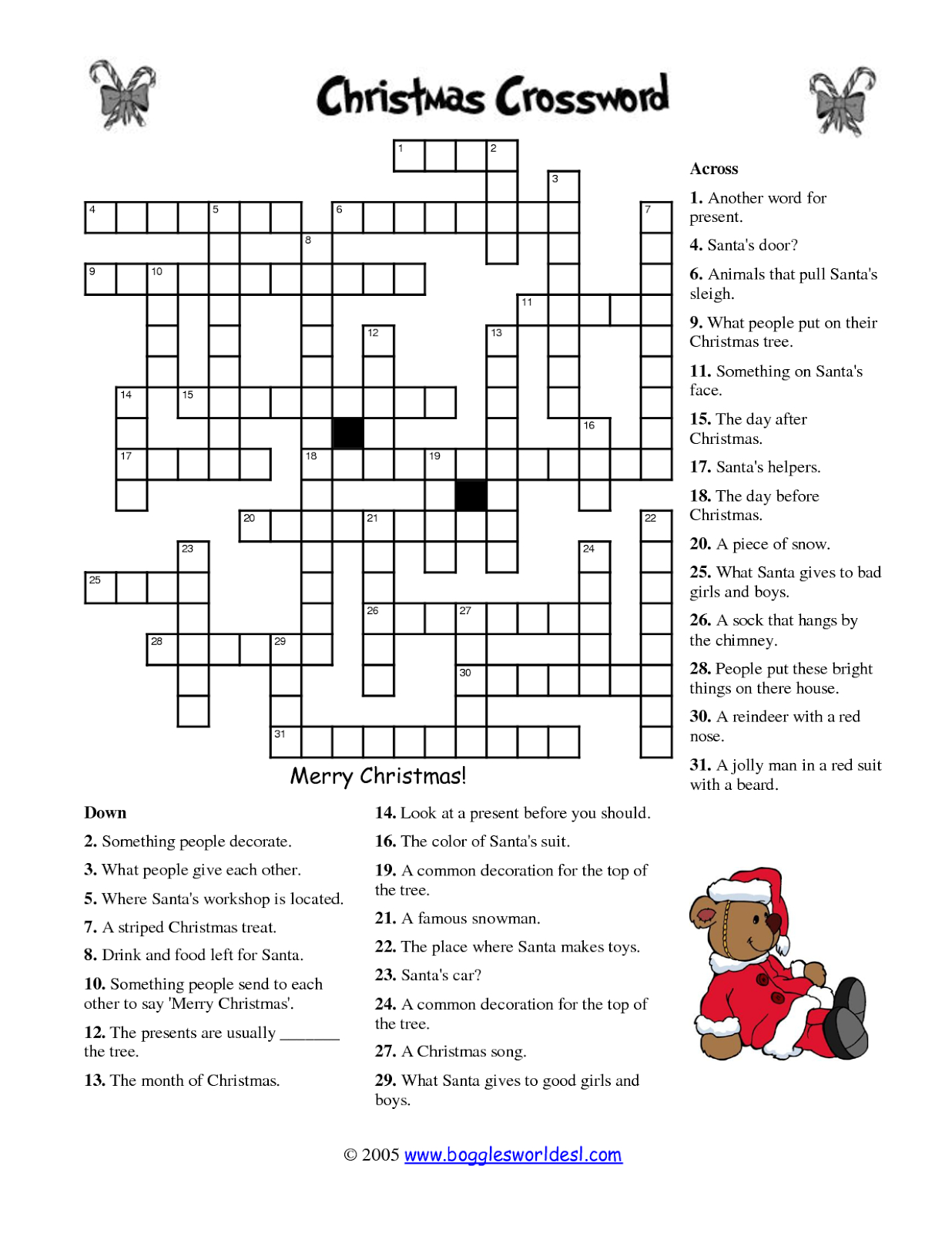 Free Printable Cards: Free Printable Crossword Puzzles | Christmas - Free Printable Christmas Crossword Puzzles For Adults
