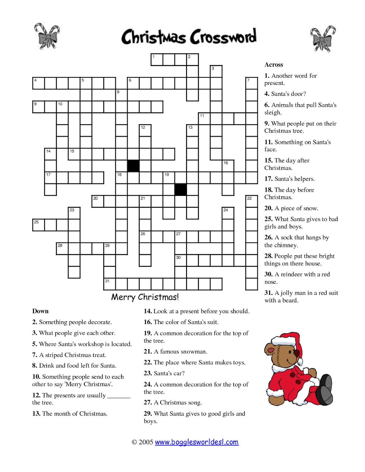 Free Printable Cards: Free Printable Crossword Puzzles | Christmas - Free Printable Christmas Puzzles