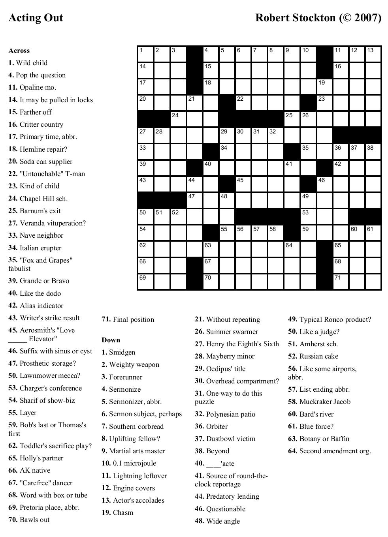 Free Printable Cards: Free Printable Crossword Puzzles   Free - Free Printable Fill In Puzzles Online