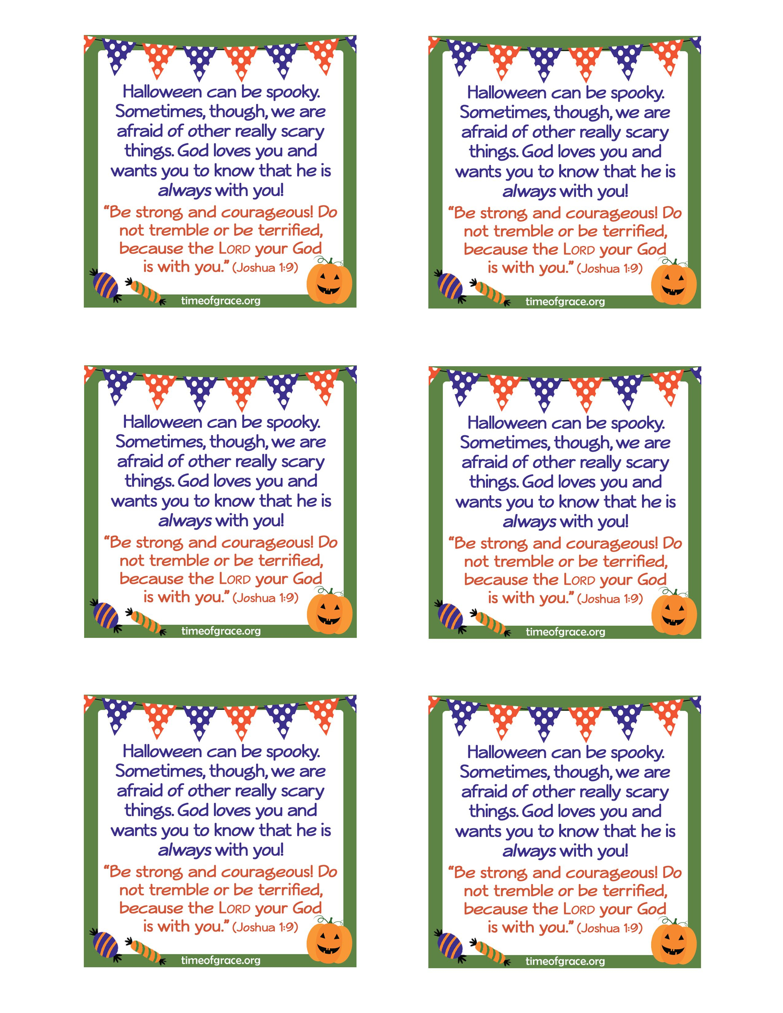 Free #printable Cards With A Message And Scripture To Hand Out With - Free Printable Halloween Homework Pass