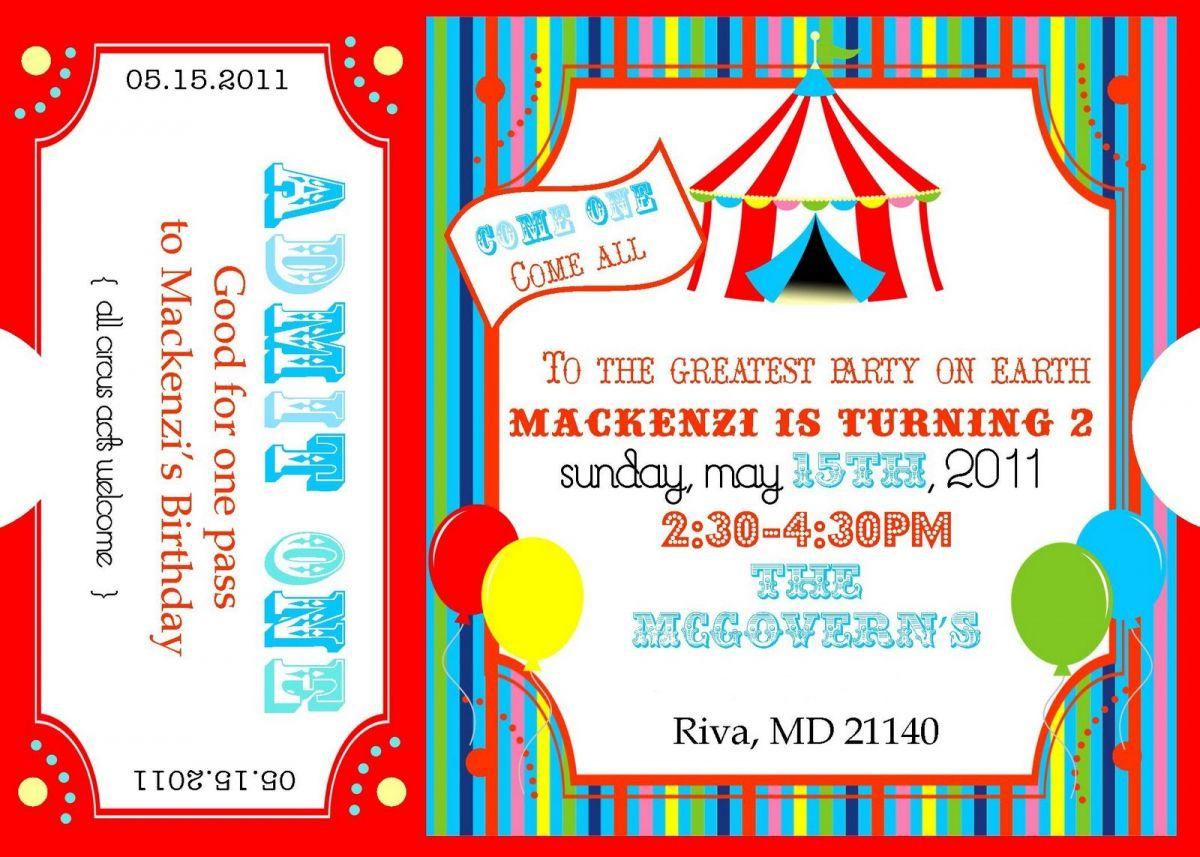 Free Printable Carnival Ticket Invitations | Logan's 1St Birthday - Free Printable Ticket Invitations