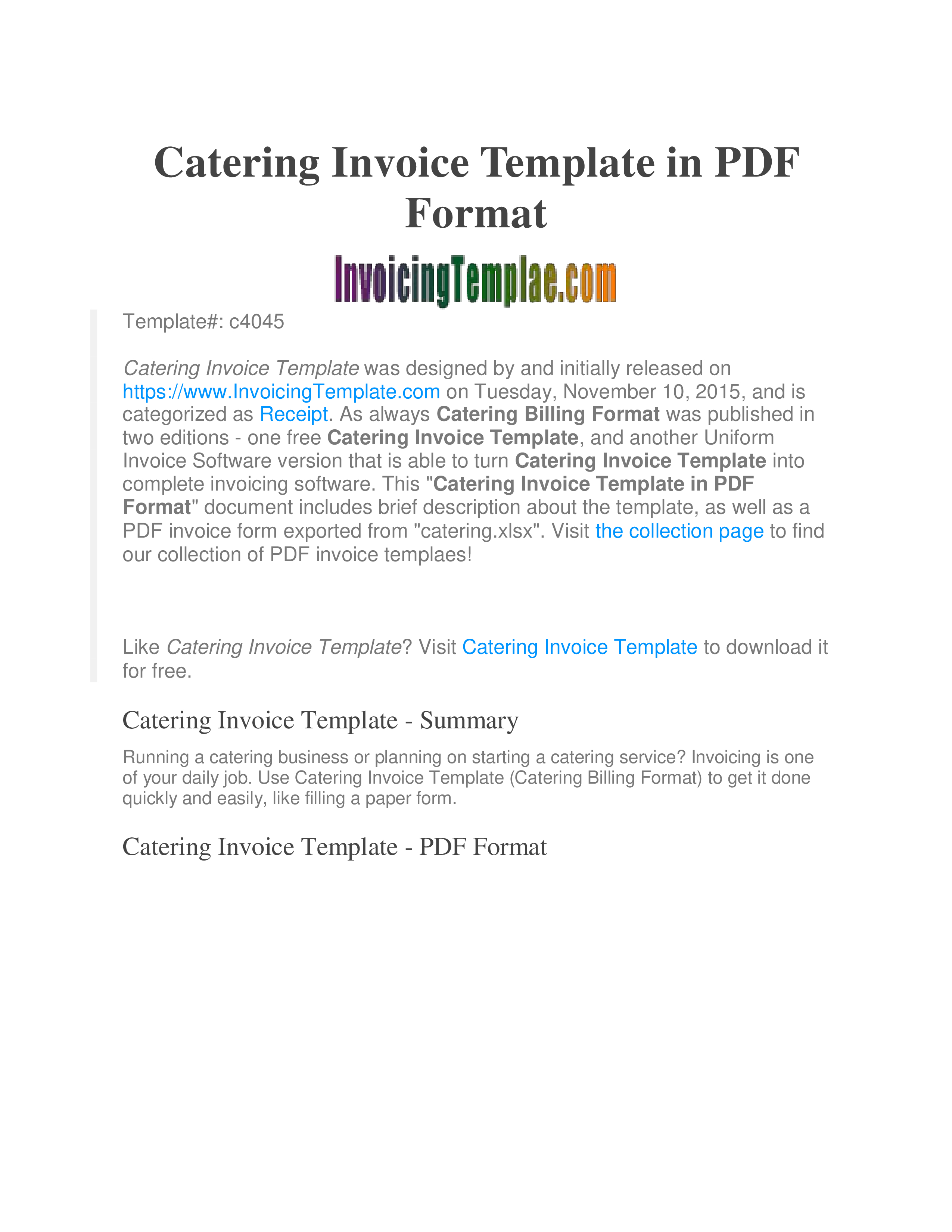 Free Printable Catering Invoice | Templates At Allbusinesstemplates - Free Printable Catering Invoice Template