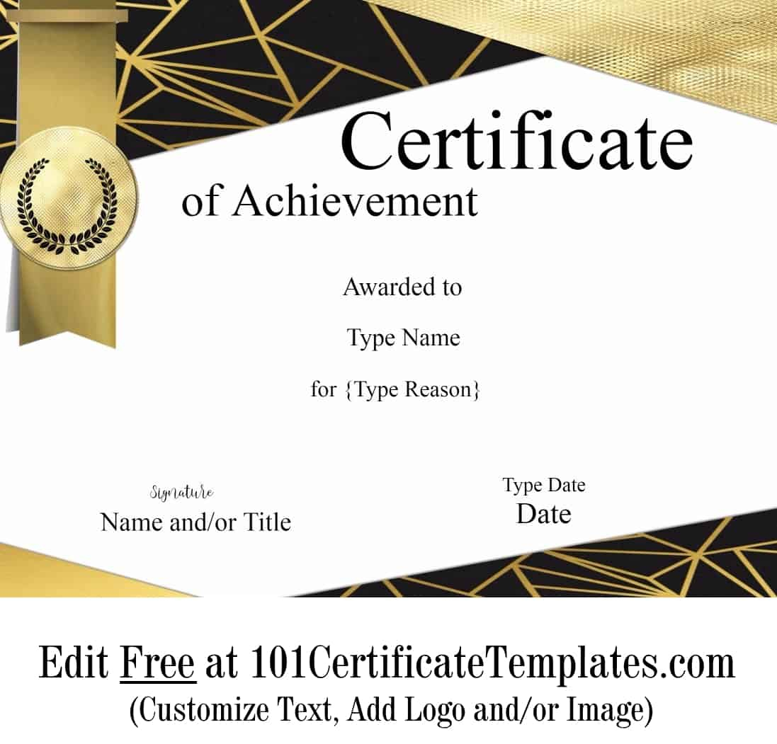 Free Printable Certificate Of Achievement | Customize Online - Free Customizable Printable Certificates Of Achievement