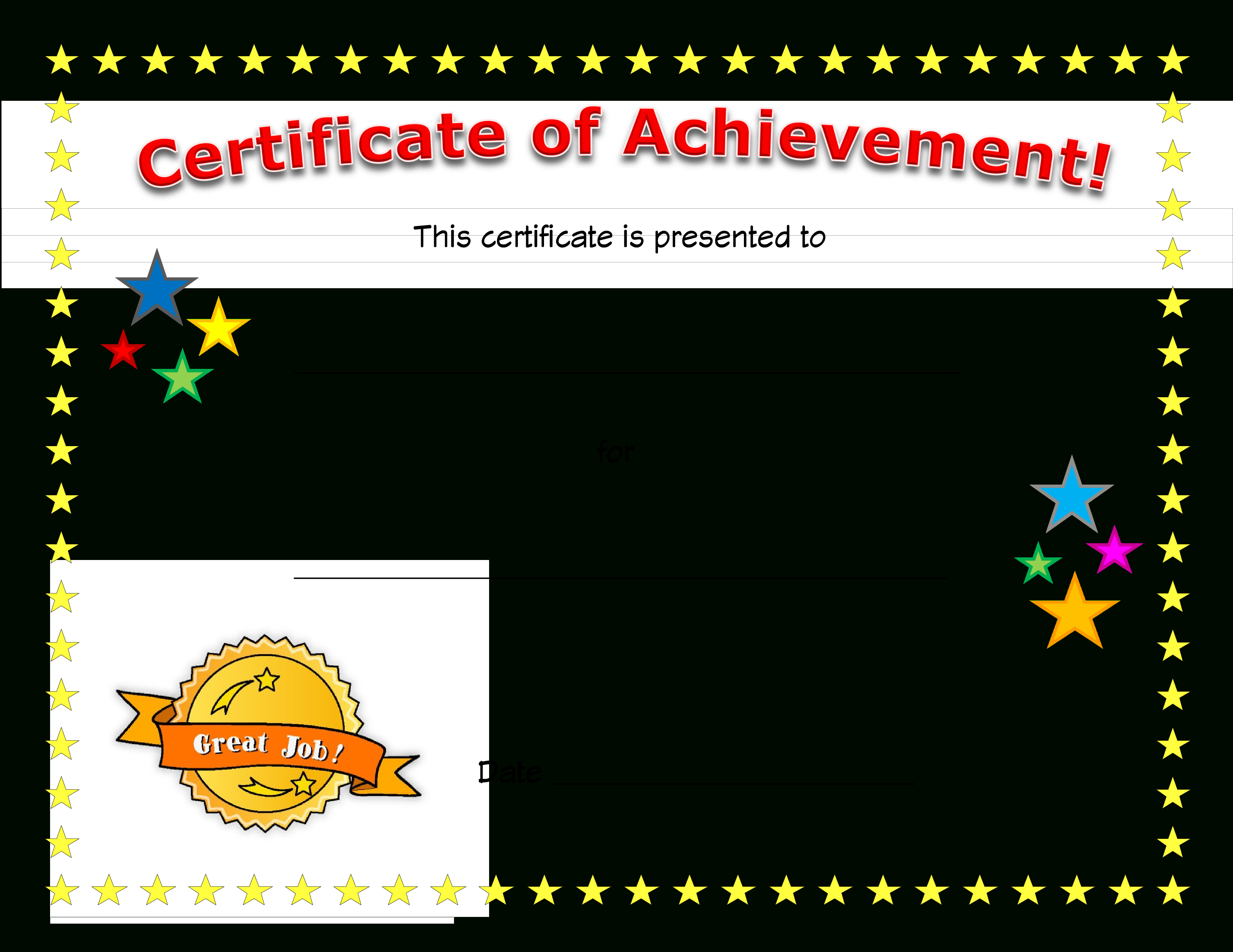 Free Printable Certificate Of Achievement Word Template Blank Letter - Free Printable Certificates Of Achievement