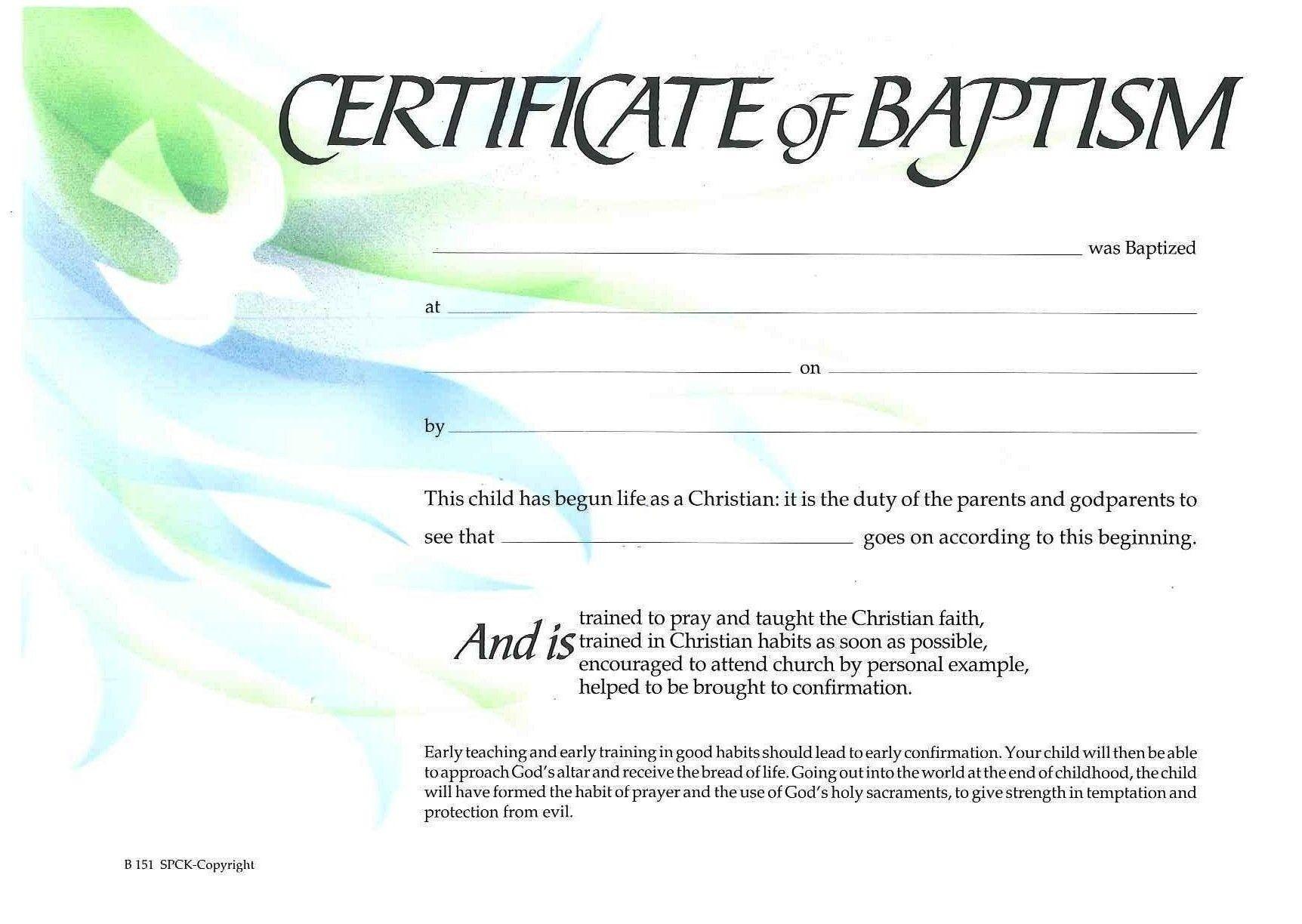 Free Printable Certificate Of Baptism | Certificate Of - Free Printable Baptism Certificate
