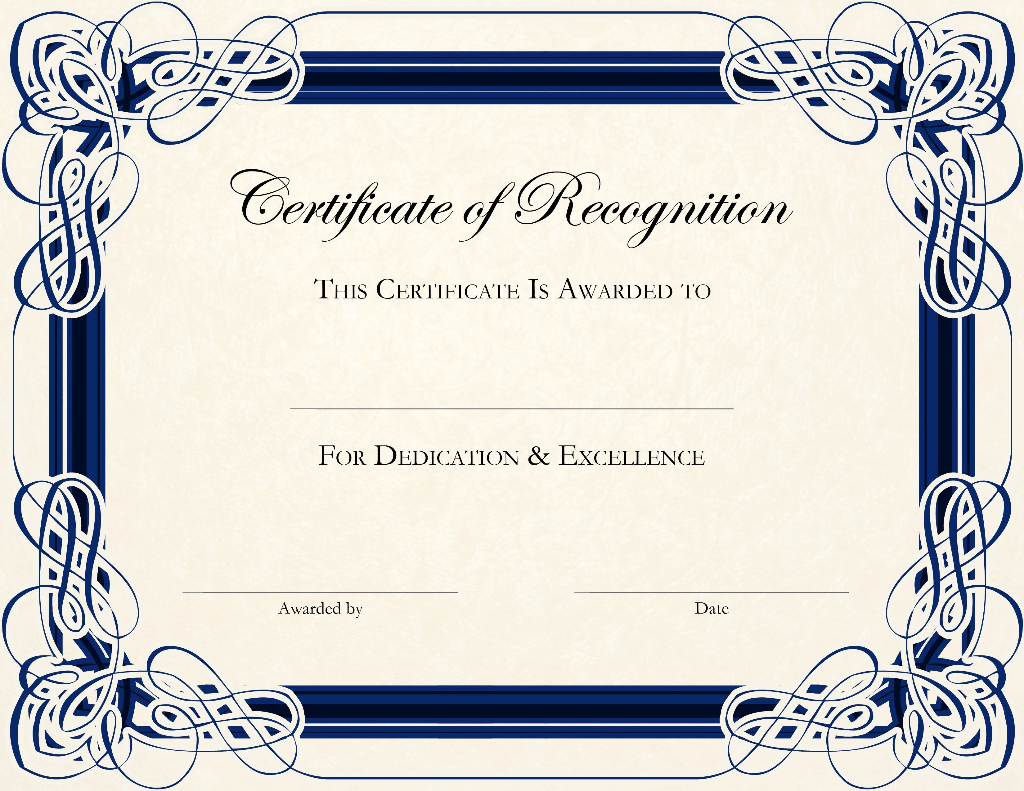 Free Printable Certificate Templates For Teachers | Besttemplate123 - Free Printable Templates For Certificates Of Recognition