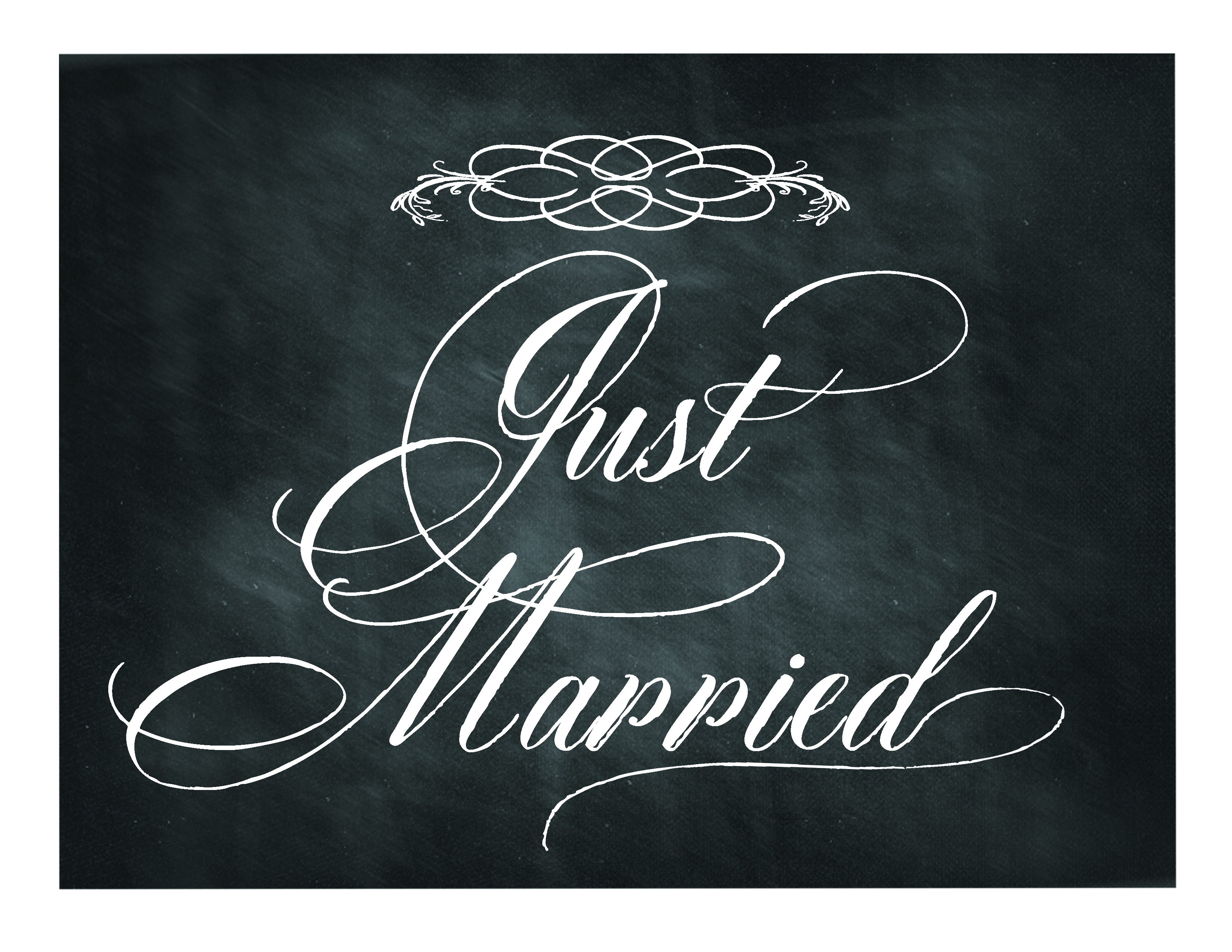 Free Printable Chalkboard Sign: Just Married   Lettering Art Studio - Just Married Free Printable