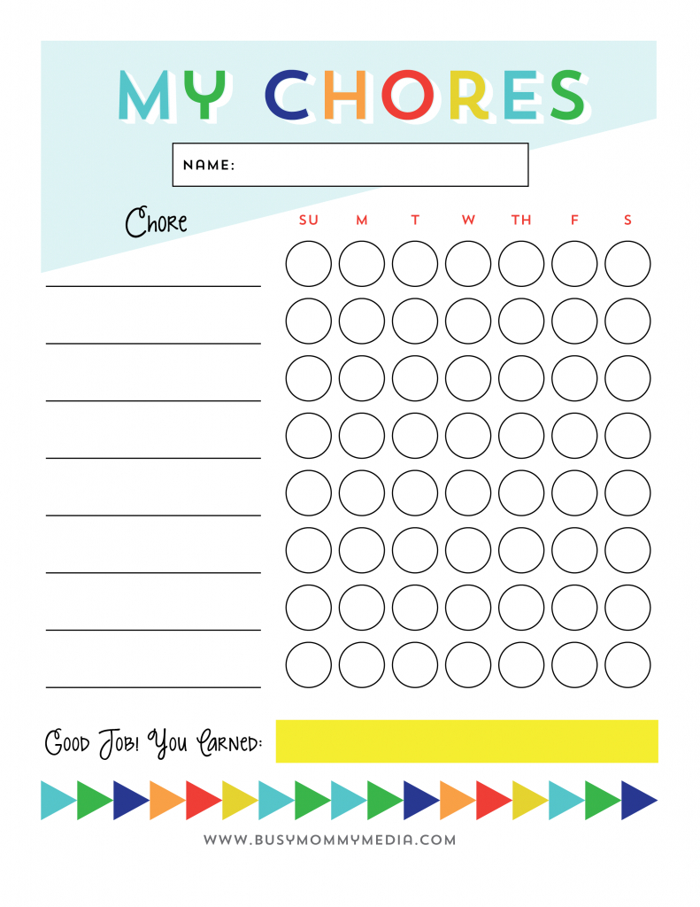 Free Printable - Chore Chart For Kids   Ogt Blogger Friends - Free Printable Chore List