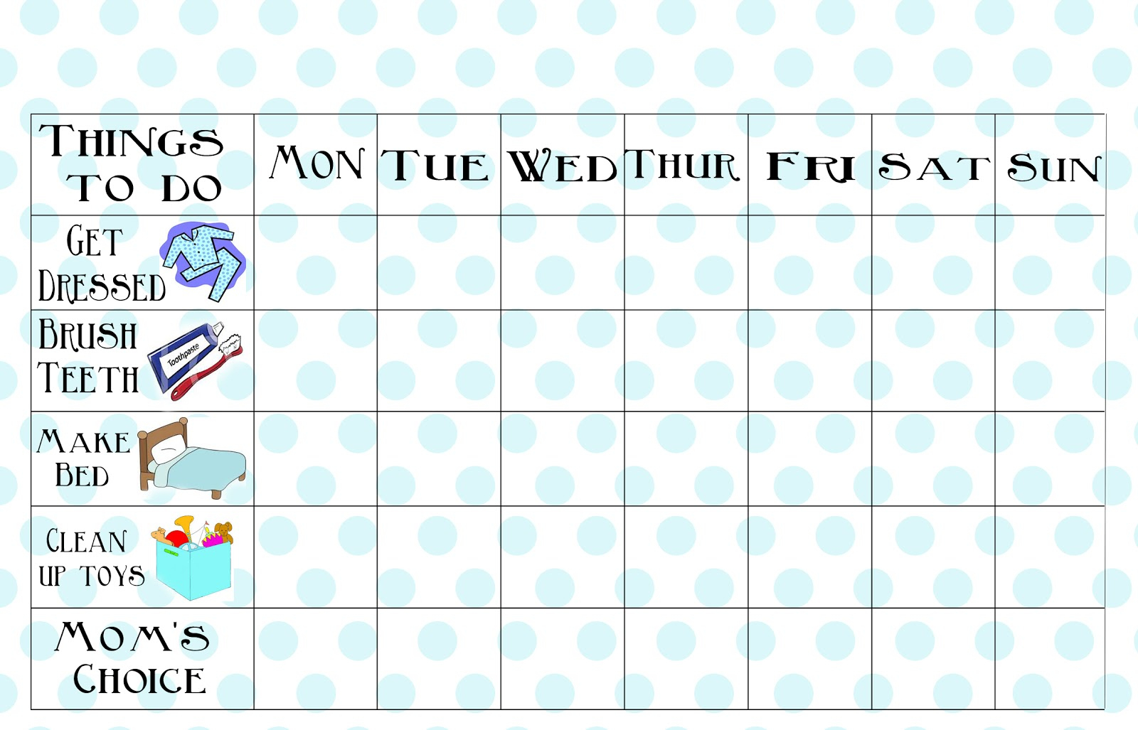 Free Printable Chore Chart - Free Printable Chore Charts For 7 Year Olds