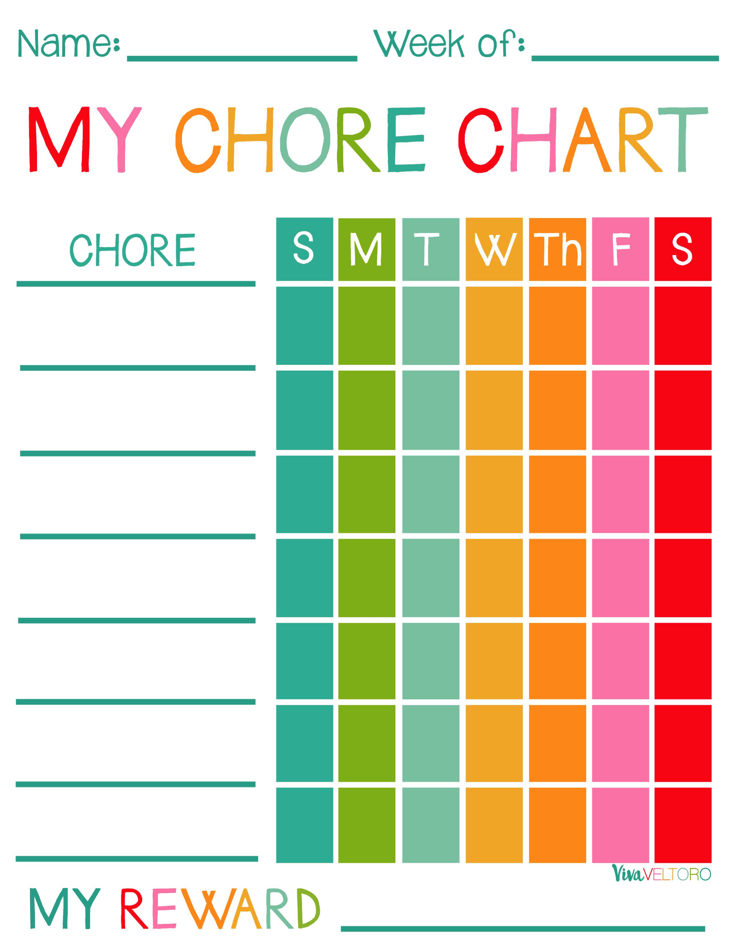 Free Printable Chore Charts For Kids! - Viva Veltoro - Free Printable Toddler Chore Chart