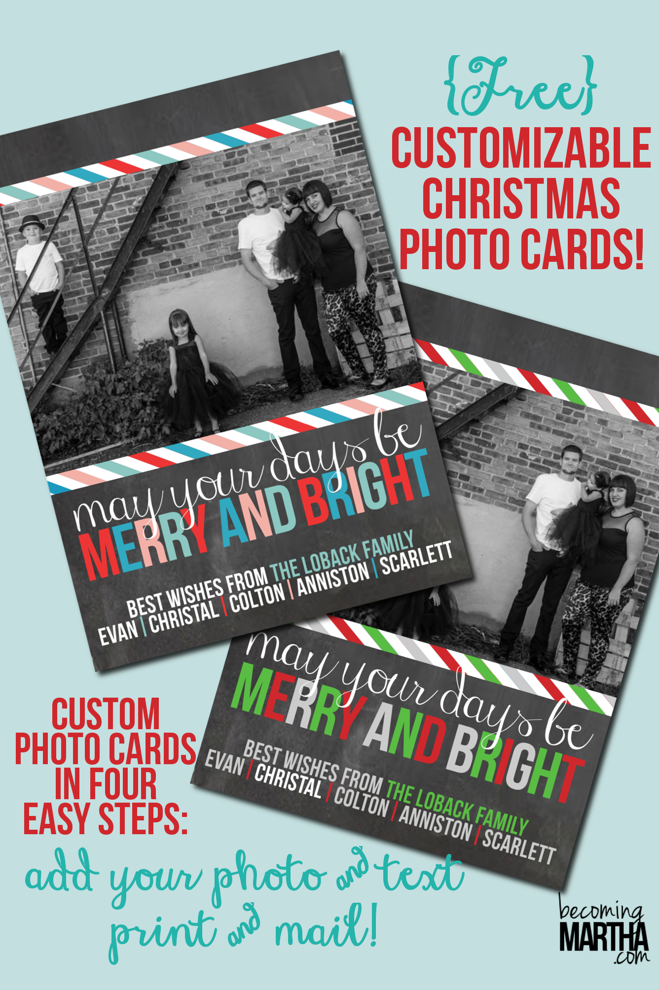 Free Printable Christmas Cards {Customize With Your Own Photo!} - Free Printable Photo Christmas Cards