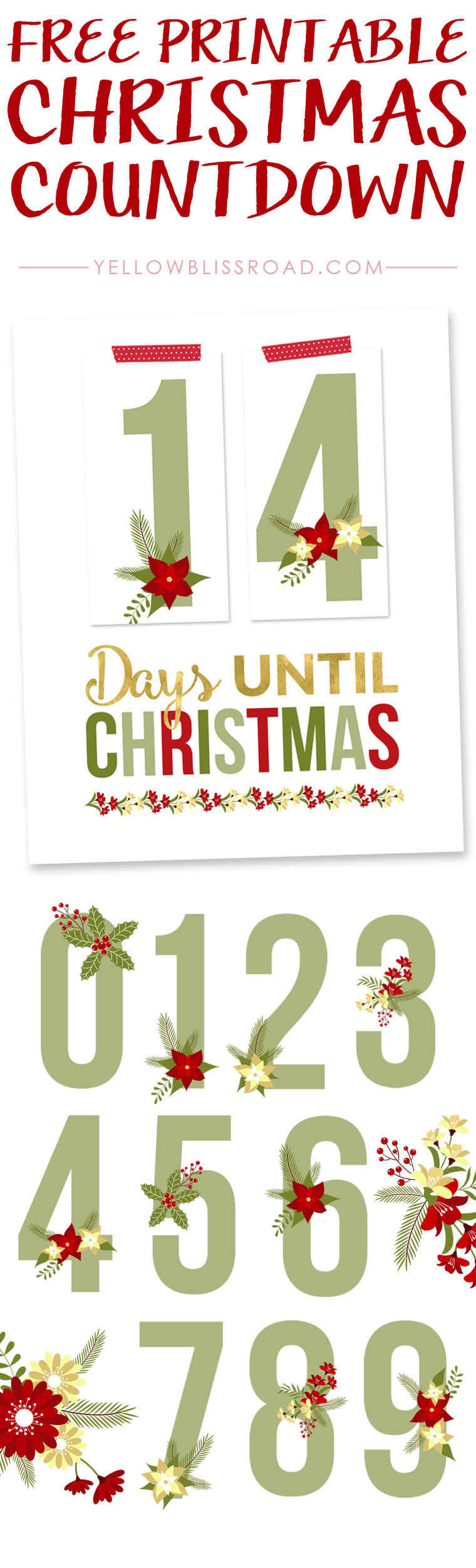 Free Printable Christmas Countdown - Yellow Bliss Road - Christmas Countdown Free Printable