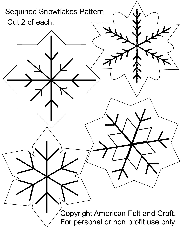 Free Printable Christmas Cutouts Sequin Snowflakes Felt Christmas - Free Printable Christmas Cutouts