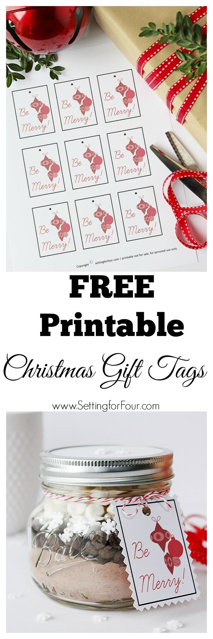 Free Printable Christmas Gift Tags - Setting For Four - Diy Christmas Gift Tags Free Printable
