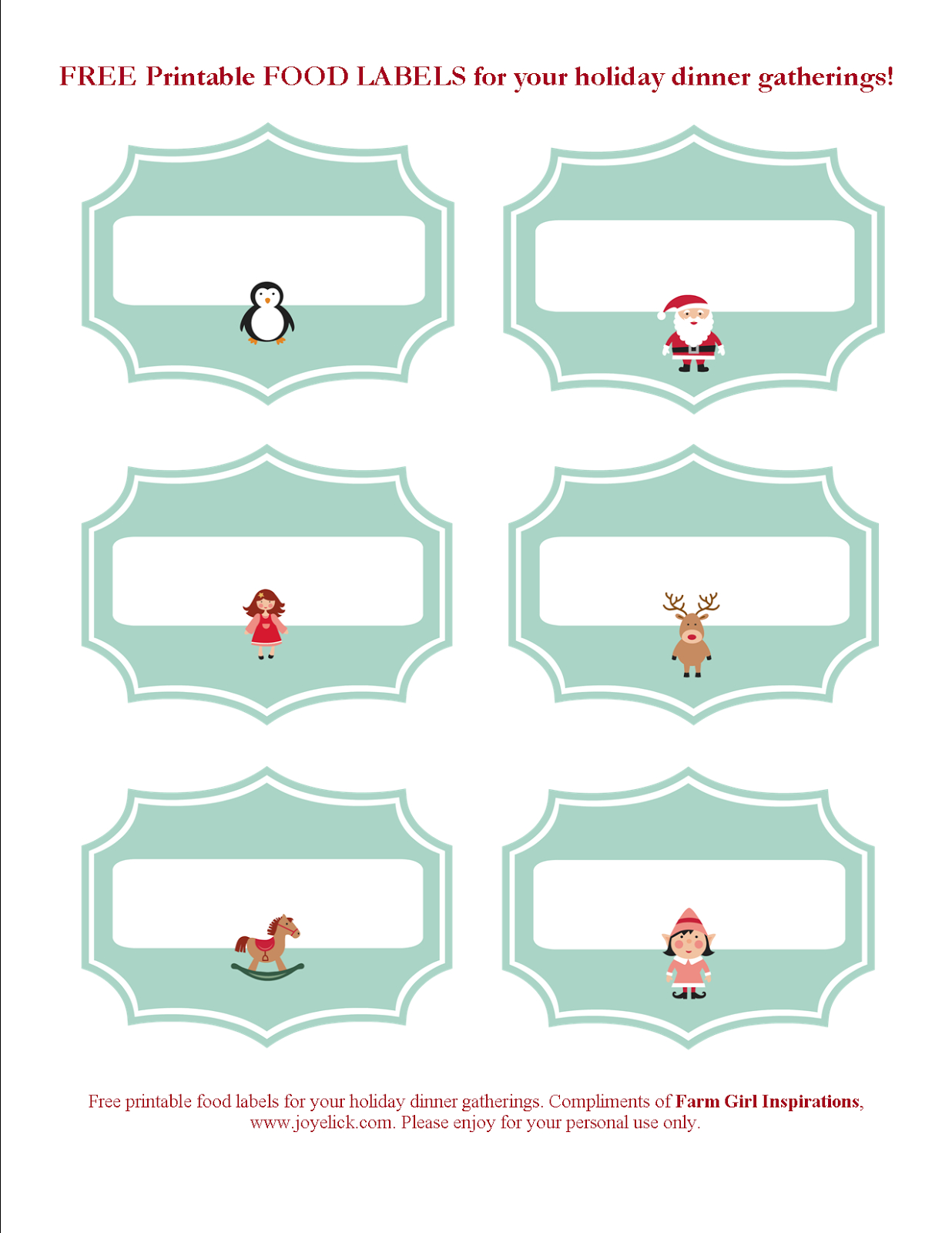 Free Printable Christmas Party Food Labels – Festival Collections - Free Printable Christmas Food Labels