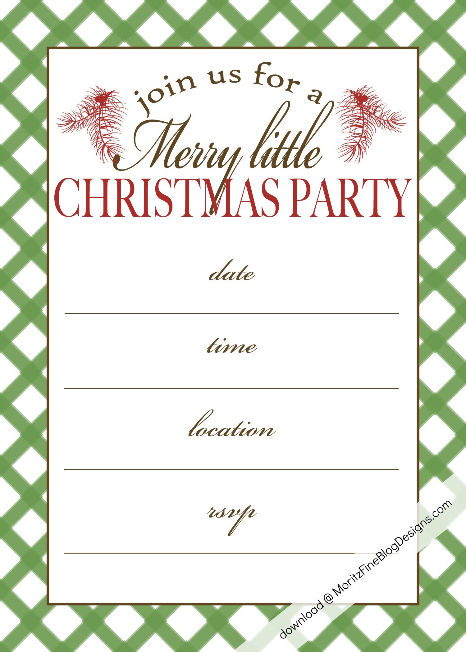 Free Printable Christmas Party Invitation | Christmas:print - Free Printable Christmas Invitations