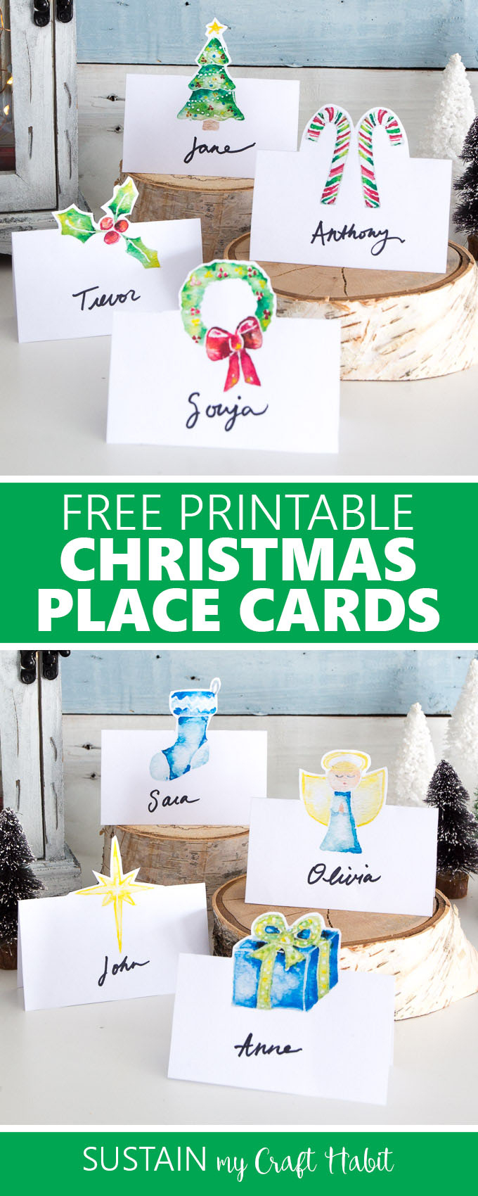 Christmas Table Name Cards Free Printable