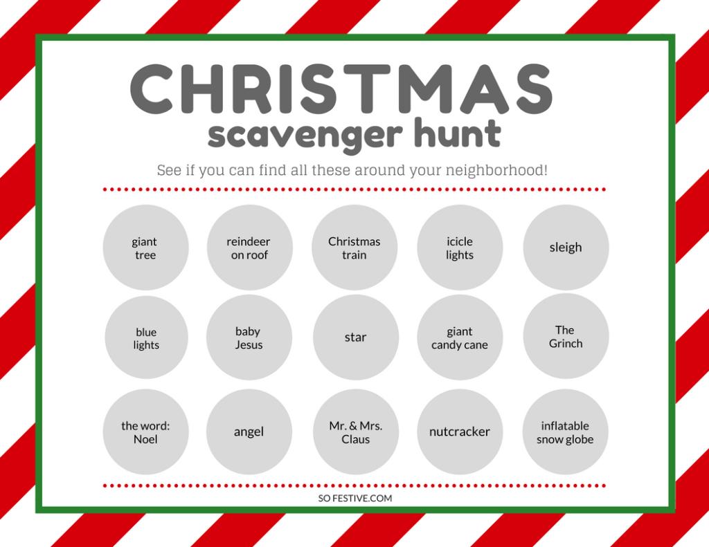 Free Printable Christmas Scavenger Hunt! - So Festive - Free Printable Christmas Treasure Hunt Clues