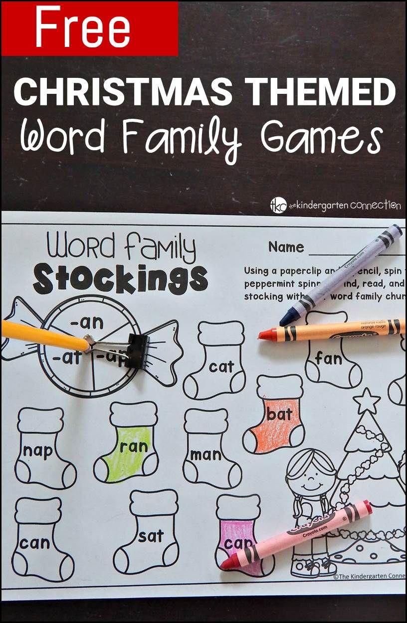 Free Printable Christmas-Themed Word Family Games   Kinderland - Free Printable Word Family Games