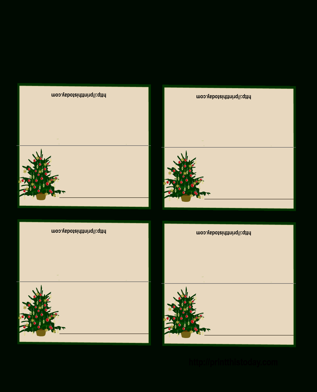 Free Printable Christmas Tree Place Cards   *+* Free Holiday - Free Printable Christmas Table Place Cards Template