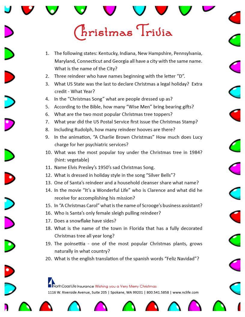 Free Printable Christmas Trivia Questions   Party Ideas   Pinterest - Free Printable Christmas Trivia Quiz