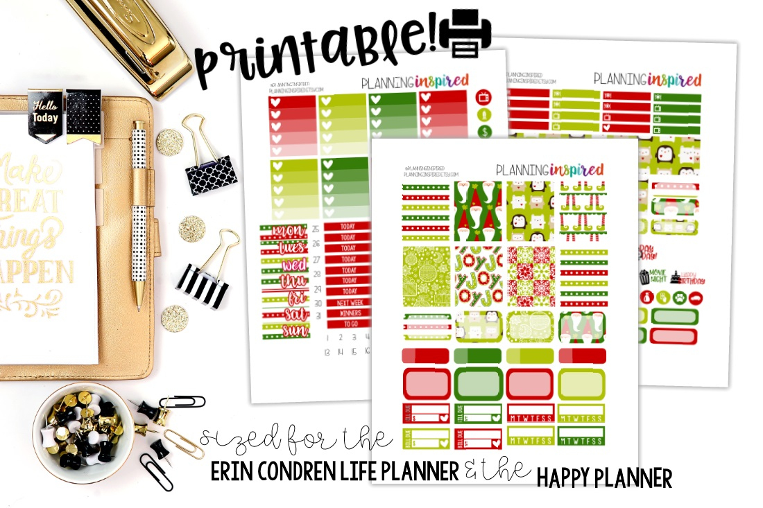 Free Printable Christmas Weekly Sticker Kit - Planning Inspired - Happy Planner Free Printable Stickers