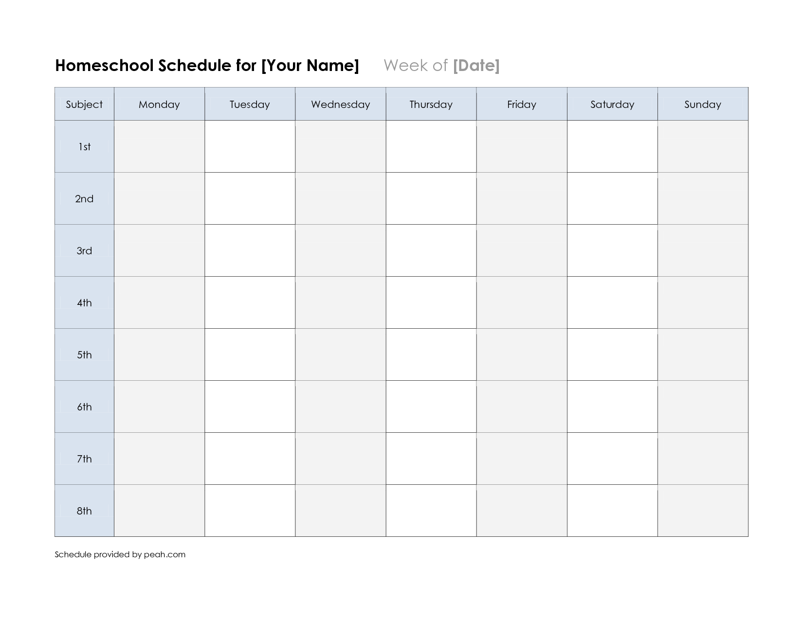 Free Printable Class Schedule Template | Printable Weekly Nfl - Free Printable School Agenda Templates