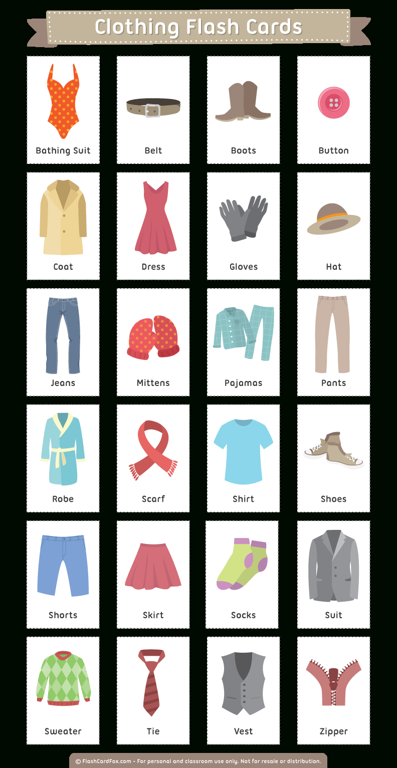 Free Printable Clothing Flash Cards | Flash Card | Pinterest - Free Printable Vocabulary Flashcards